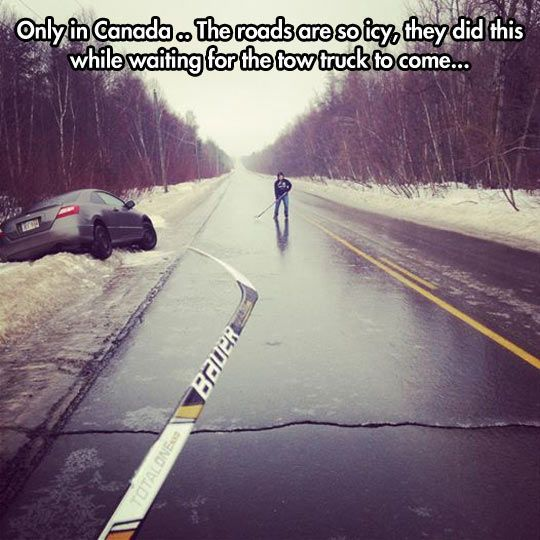 My kids have done this on our frozen street.... cops pulled over to watch. LOL NOT only in CANADA my friends. USA has Hockey Hearts all the way too!