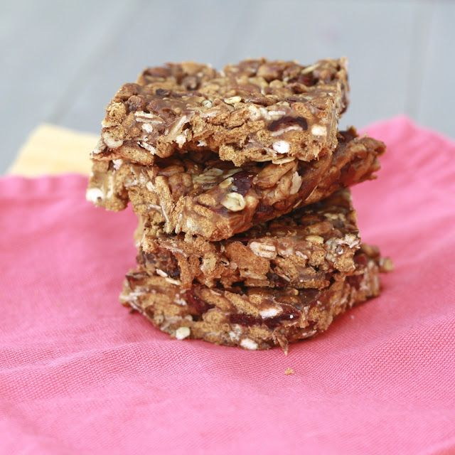 homemade no bake peanut butter granola bars. Yum! The use of kashi cereal gives these an extra bit of crunch! Love these and easy to make!