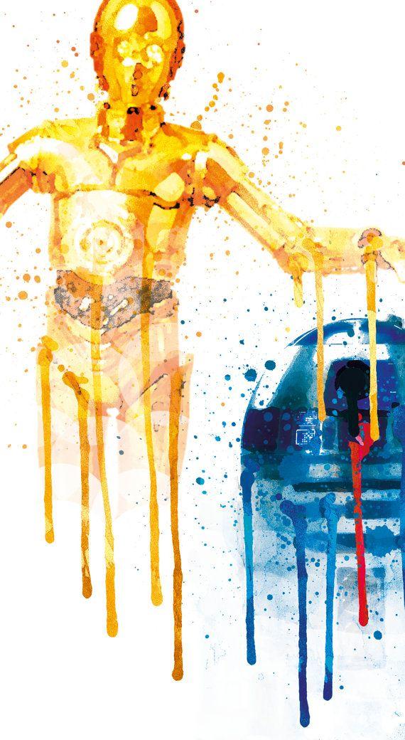 R2D2 y C3PO Star Wars niños sala póster Star Wars C3PO R2D2 arte niños, estrellas guerras guardería acuarela, C3P0 R2D2 Baby Room Decor Teen ----------------  Este listado está para una descarga instantánea de archivos JPEG de la obra de arte.  Especificaciones:  -İmage tamaño: 8 X 10 pulgadas. Si desea otro tamaño por favor hágamelo saber. -300 dpi -Alta resolución JPEG -Espacio de color: CMYK -Recomendado Material: papel mate de 200 gr  Aquí es cómo funciona:  -Este listado de compra…