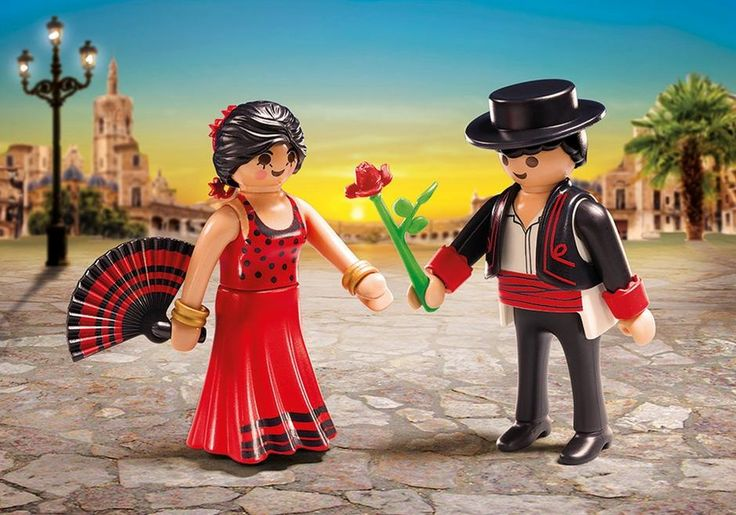 Clap your hands and move your feet to the music with the Flamenco Dancers Duo Pack. Play with this set on its own or combine it with any other PLAYMOBIL set. Set includes two figures, fan, rose, and other accessories. Recommended for ages four to ten.