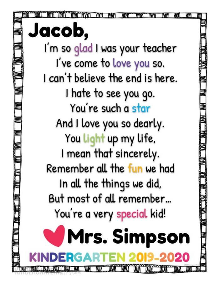 Free Editable Goodbye Letter For The End Of The Year Poems For Students Student Teacher Gifts Letter To Students