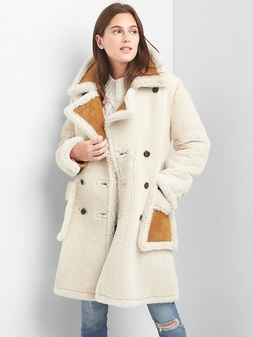 Gap Womens Shearling Suede Coat Ivory
