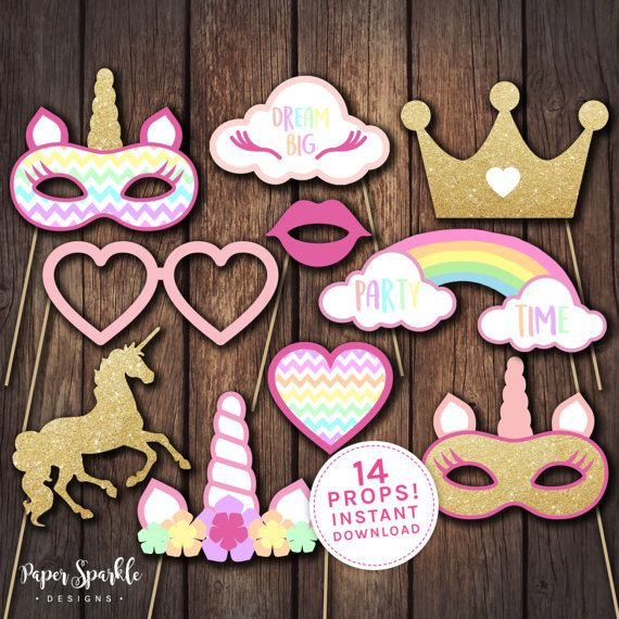 14 printable Unicorn glitter effect party props, including:  2 x unicorns 2 x unicorn masks unicorn head flower head garland heart glasses heart wand star wand glitter effect Crown Rainbow Cloud Lips Dream Big cloud   Perfect addition for every Unicorn party. Great for a photo booth.  Matching Unicorn name poster available separately here: https://www.etsy.com/listing/513913227  Matching Pin the Horn on the Unicorn game available separately here:https://www.etsy....