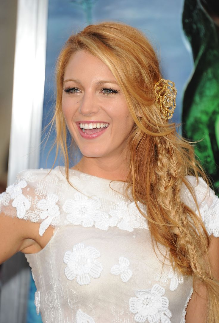 Blake Lively, AKA Hollywood's Hair Queen (it's an official title), rocks her strawberry blonde color with chunky blonde highlights.    - MarieClaire.com