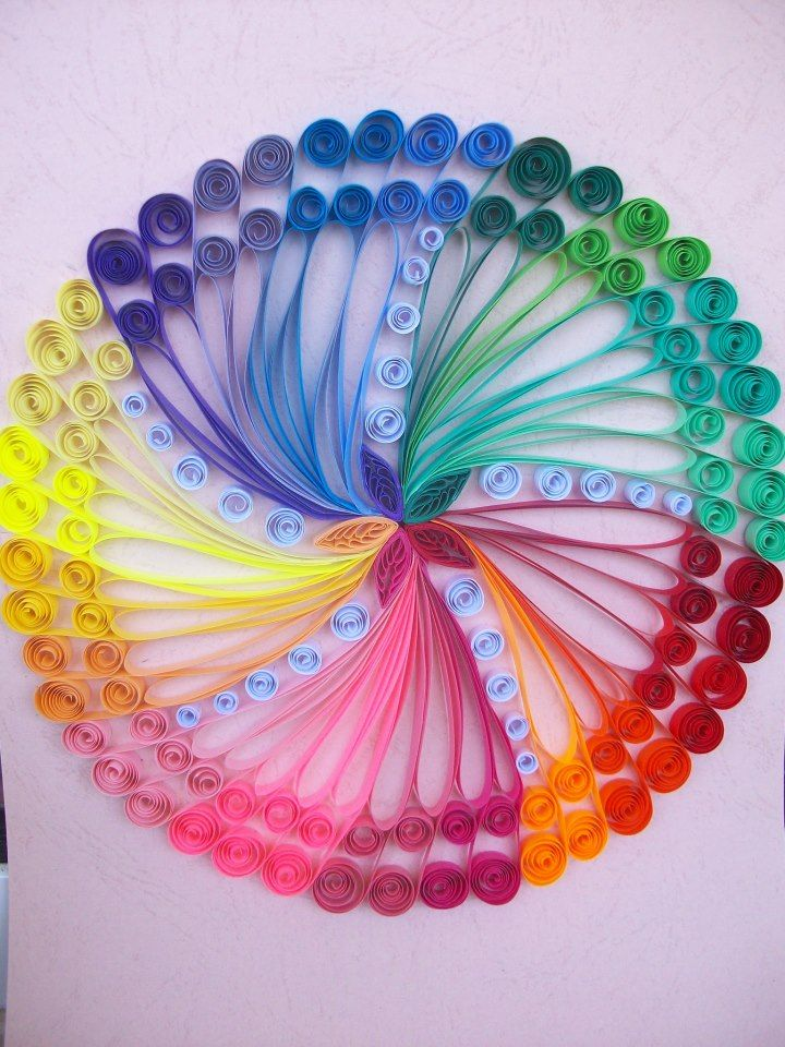 Quilled color wheel.