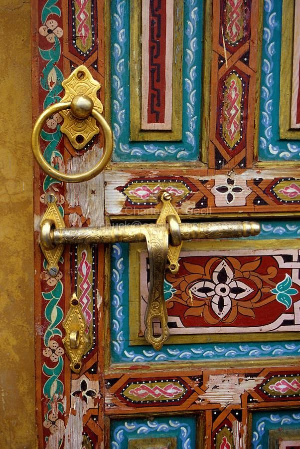 intricately designed colorful door