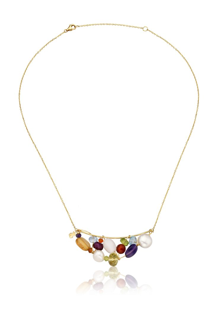 18kt yellow gold TOUS Garabato necklace with gemstones