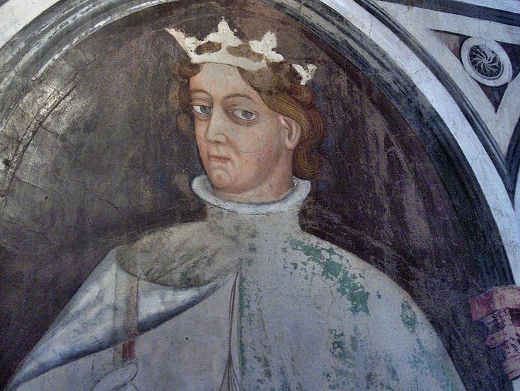 Gentile da Fabriano e bottega - Re Artù, dettaglio - Ponte sospeso - ciclo di affreschi frammentario - 1411-1412 - Palazzo Trinci a Foligno