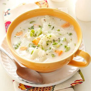 "Hearty Potato Soup Recipe -Having grown up on a dairy farm in Holland, I love our country life here in Idaho's ""potato country."" My favorite potato soup originally called for heavy cream and bacon fat, but I've trimmed down the recipe. —Gladys DeBoer, Castleford, Idaho"