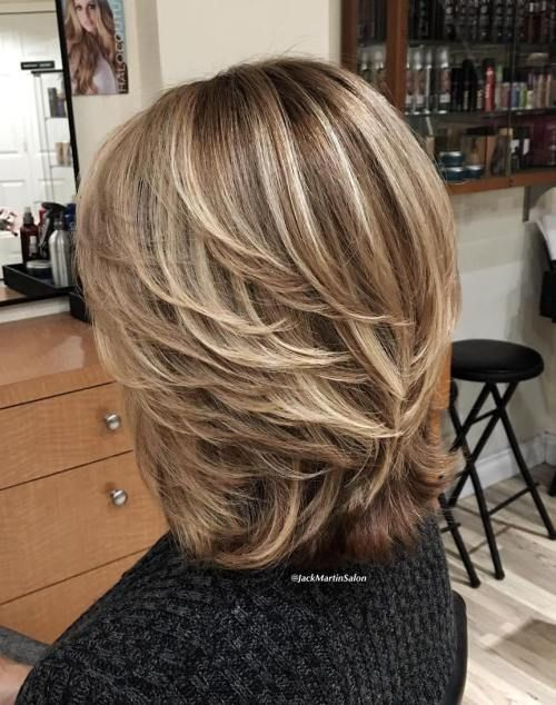 70 Respectable Yet Modern Hairstyles for Women Over 50 - Medium Layered Brown Blonde Hairstyle