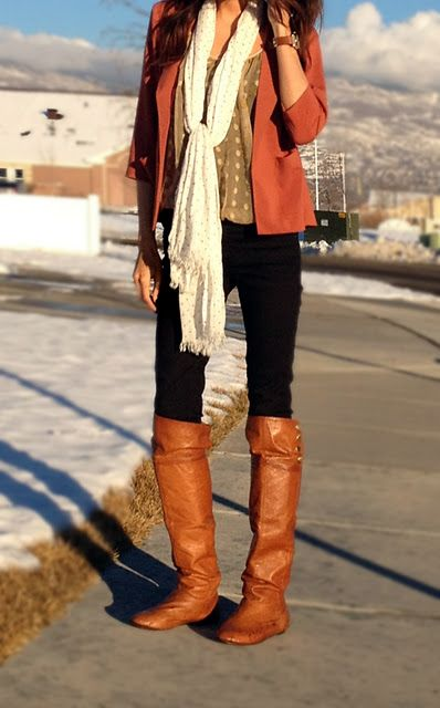 .: Fall Clothing, Polka Dots, Fall Looks, Fall Winte, Fall Boots, Fall Fashion, Fall Outfit, Brown Boots, Fall Attire