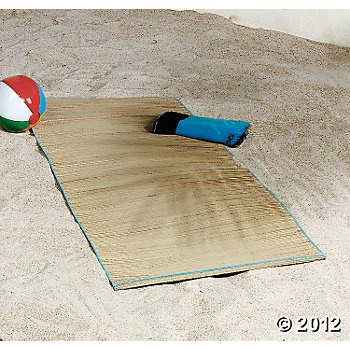 Oriental Trading straw beach mats for library area