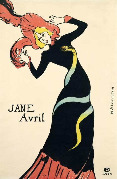 """""""Poster for Jane Avril"""" by Henri de Toulouse-Lautrec (1899).  Nicknamed after an explosive, La Mélinite, Avril was a star of the Moulin Rouge in the 1890s. Toulouse-Lautrec captured her elegant yet exotic persona in posters & paintings that would elevate them both in this cabaret world."""