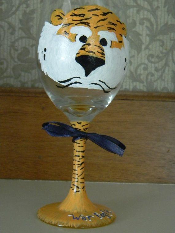 Super cute Auburn wine glass $13.00  War Eagle!  Pinterest  Glasses, Tailgating and Lsu