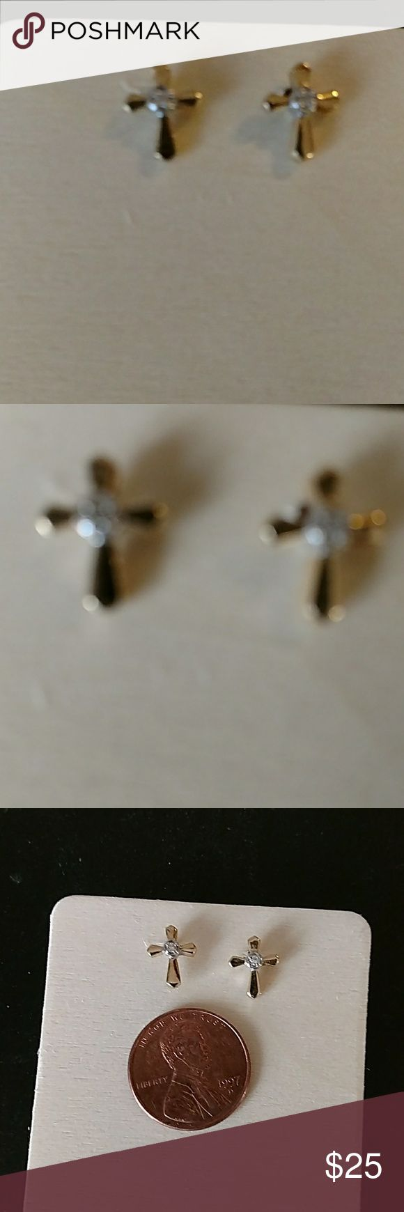 Gold and diamond cross earrings 14 carrot gold cross earrings with small diamonds. Jewelry Earrings