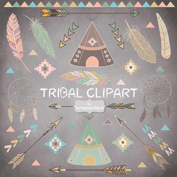 Chalkboard Tribal clipart feathers Teepee Tents от 1burlapandlace