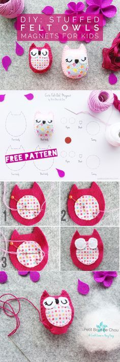 Make your own gorgeous stuffed owl magnets using this free pattern and tutorial. A perfect kid's gift for a quiet play activity.