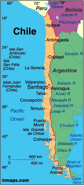 Chile está en la costa oeste de América del Sur. Chile es muy estrecho, pero muy largo. Chile está situado al lado de Argentina, Bolivia y Perú. La costa oeste de Chile se encuentra paralelo al Océano Pacífico. La capital de Chile es Santiago. Para el intercambio el año pasado, siete otros estudiantes de NPBHS y yo fui a Santiago.