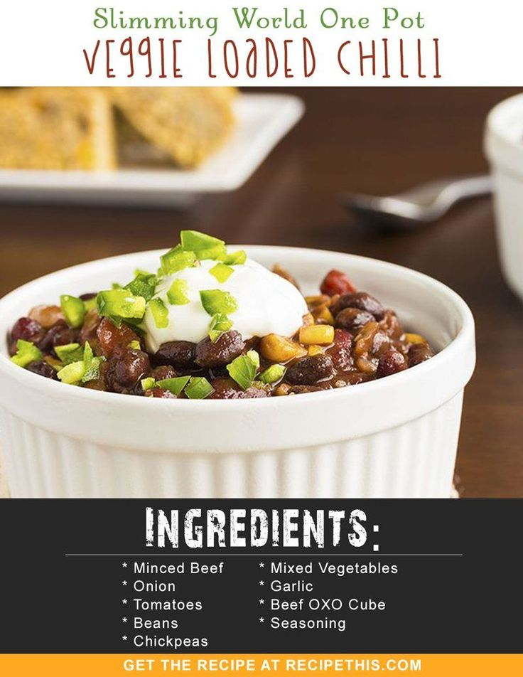 Slimming World Recipes | Slimming World One Pot Veggie Loaded Chilli recipe from RecipeThis.com