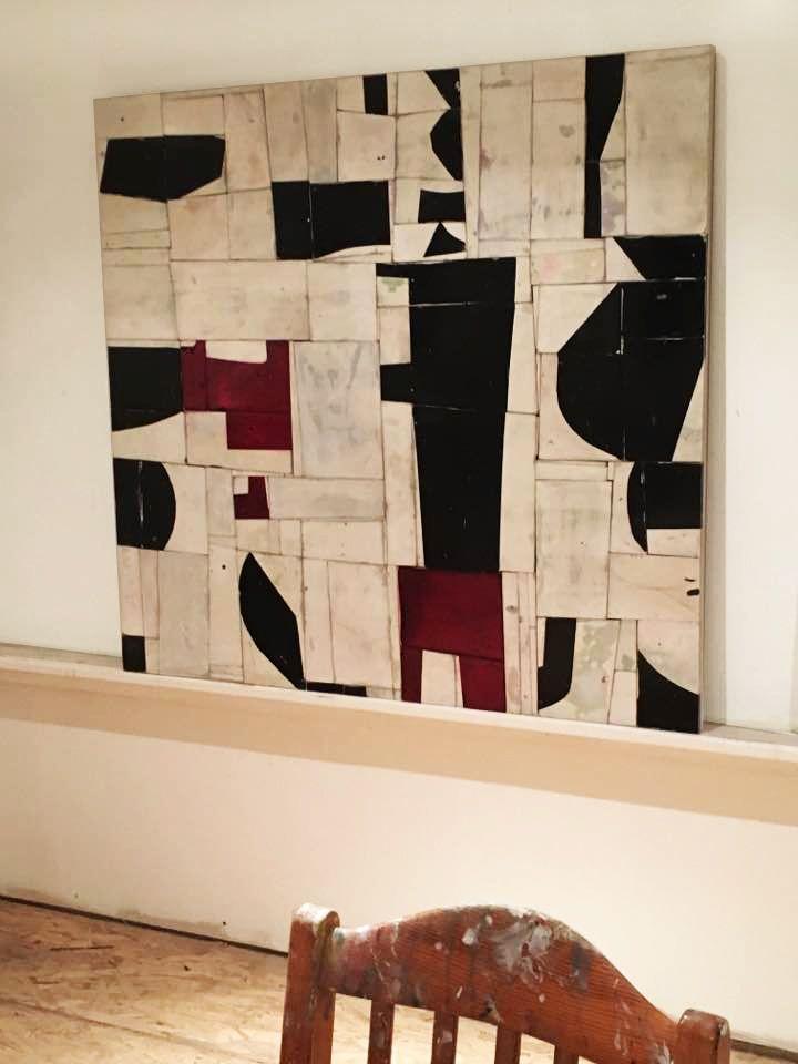 "Greg Pretty, Kinnik, 2017 45 x 47"" acrylics and chalk on Duraply"