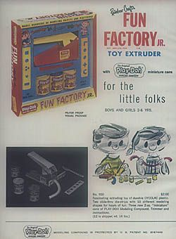 Play Doh Fun Factory 1960s  I had one of these so they must have made a reproduction one in the late 70's.