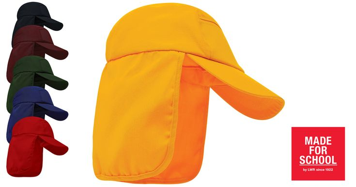 Our Hargraves Legionnaire Cap is sun protection without chewed on cords.  Gold!