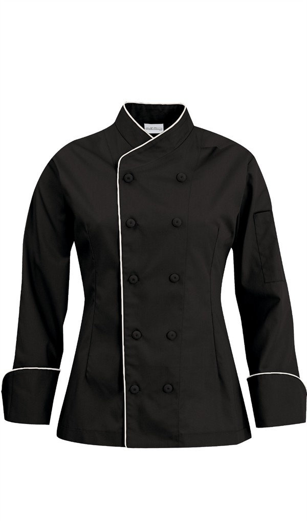 Women's Imperial Chef Coat - Contrast Piping - 100% Cotton $27.99 http://www.chefuniforms.com/chef-coats/womens-chef-coats/womens-imperial-chef-coat.asp?frmcolor=blwht
