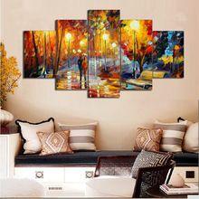 5 Paneller Leonid Afremov Boyama Duvar Sanatı cuadros decoracion Duvar Oturma Odası Için Tuval Baskı Resim Soyut Resim F/ 1025(China (Mainland))