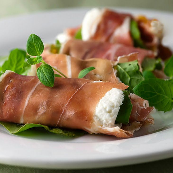 Prosciutto Rolls with Goat Cheese, Arugula and Fig Spread Recipe