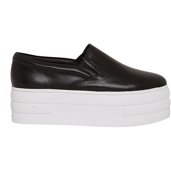 Black Flatform Slip On Sneakers ($78) ❤ liked on Polyvore featuring shoes, sneakers, black sneakers, black leather trainers, black flatforms, black slip-on sneakers and leather slip-on shoes