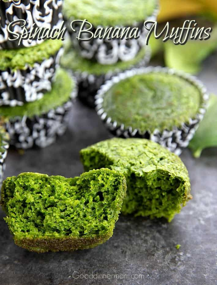Spinach Banana Muffins are delicious and the color is fun for kids, too. Super moist, best eaten the day they're baked b…