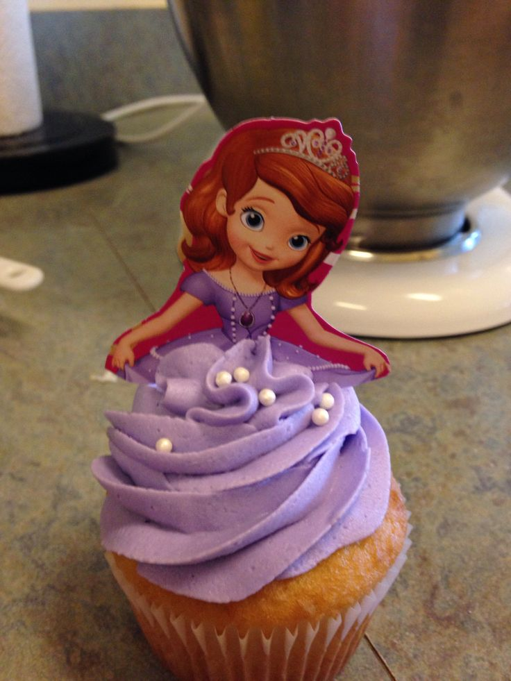 Princess Sofia cupcake.  DIY cutout from invitations.