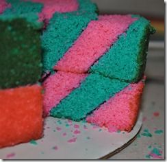 Slanted Stripe Cake Tutorial by Lauren of Fredellicious.blogspot.com 11.6.11.