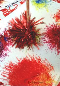 Fireworks with primary colours from tinsel painting