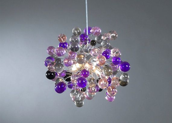 Ceiling light fixture Purple shade color bubbles by yehudalight, $360.00