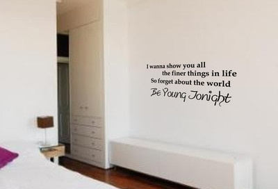 WALL ART JUSTIN BIEBER BEAUTY AND A BEAT (I WANNA) SONG QUOTE STICKER BEDROOM