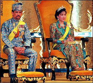 The Sultan of Brunei and Mariam Aziz(2nd wife from 1982-2003) on their thrones during celebrations for his 50th birthday