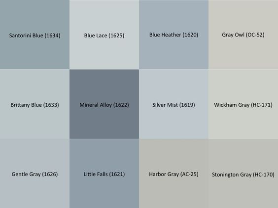Benjamin Moore Gray and Blue paint samples for the interior of the house:  Stonington Gray (HC-170), Wickham Gray (HC-171), Gray Owl (OC-52), Harbor Gray (AC-25), Silver Mist (1619), Blue Heather (1620), Little Falls (1621), Mineral Alloy (1622), Blue Lace (1625), Gentle Gray (1626), Brittany Blue (1633), Santorini Blue (1634):