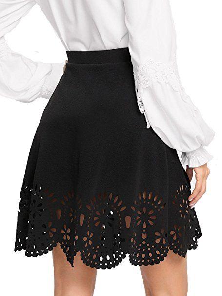 SheIn Women's Basic Solid Flared Mini Skater Skirt  #skirt  #miniskirts