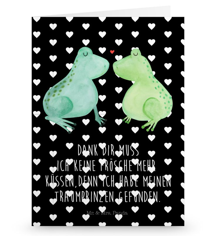 Grußkarte Frosch Liebe aus Karton 300 Gramm  weiß - Das Original von Mr. & Mrs. Panda.  Die wunderschöne Grußkarte von Mr. & Mrs. Panda im Format Din Hochkant ist auf einem sehr hochwertigem Karton gedruckt. Der leichte Glanz der Klappkarte macht das Produkt sehr edel. Die Innenseite lässt sich mit deiner eigenen Botschaft beschriften.    Über unser Motiv Frosch Liebe  Das Gefühl verliebt zu sein und seinen Verbündeten gefunden zu haben ist unbezahlbar.  Die verliebten Frösche überbringen…