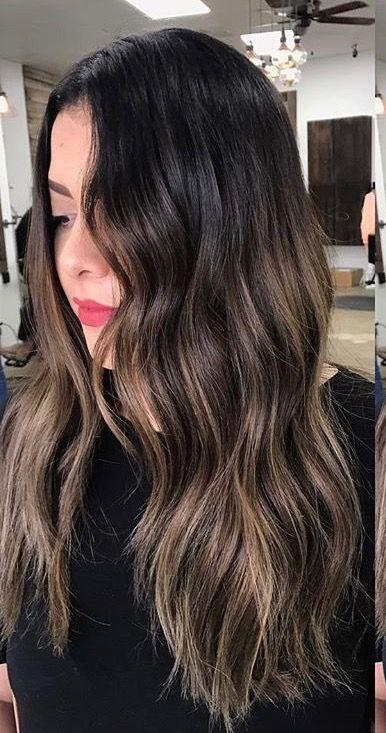 First session bayalage on dark brunette base hairby_lizeth