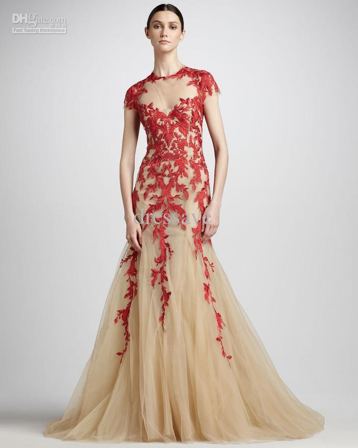 Custom Elie Saab Dresses Nude Applique Short Sleeve Red ...