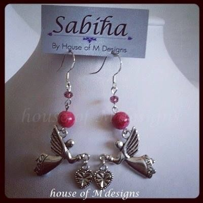 Angel of love drop beaded drops set with sterling silver hooks