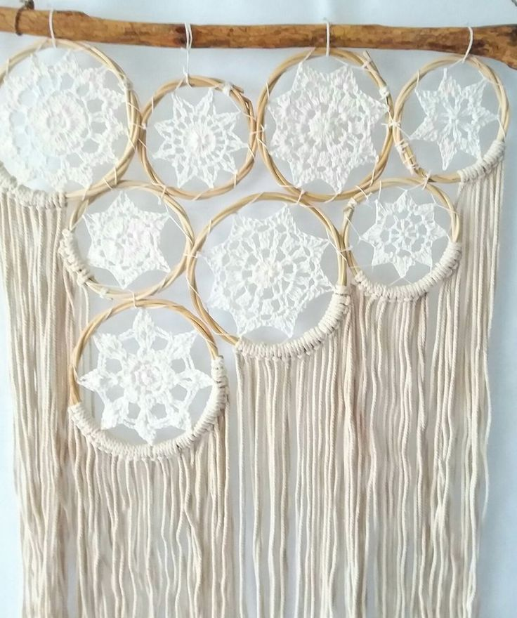 Boho Hippy Chic 8pce Macrame Dream Catcher NWT Bohemian Gypsy Wall Art Cream Lge in Home & Garden, Home Décor, Other Home Décor | eBay!