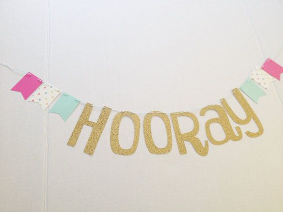 Gold HOORAY Banner by TheLollipopKids on Etsy