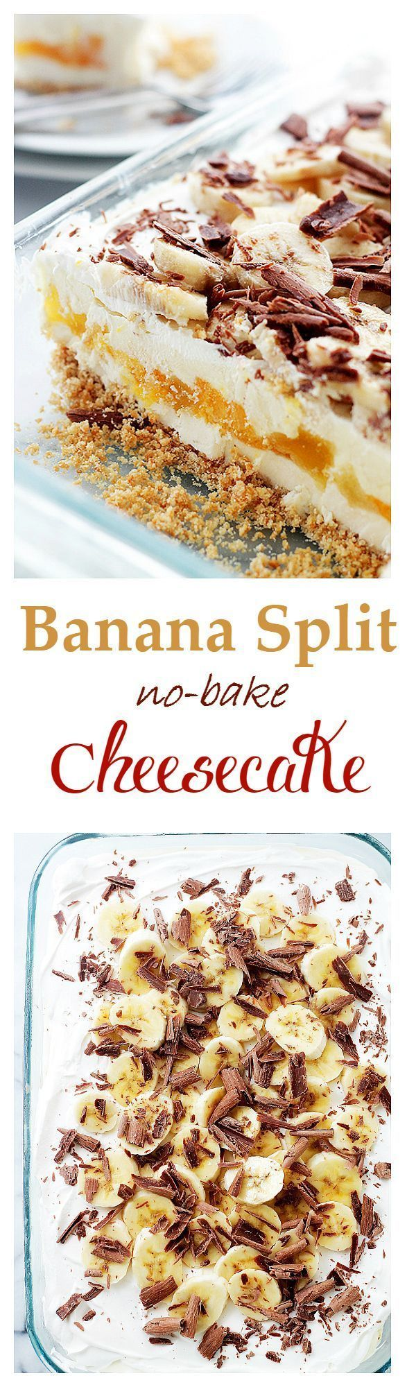 Banana Split No-Bake Cheesecake | www.diethood.com | Graham Cracker Crust topped with a creamy cheesecake mixture, vanilla pudding, pineapples, bananas and whipped cream. The perfect dessert for potlucks! | #dessert #cheesecake