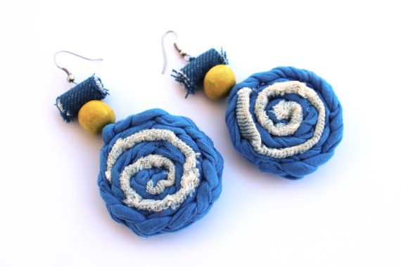Unique yellow blue textile denim earrings contemporary