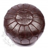 Bohemia Home Moroccan Leather Pouffe, Chocolate