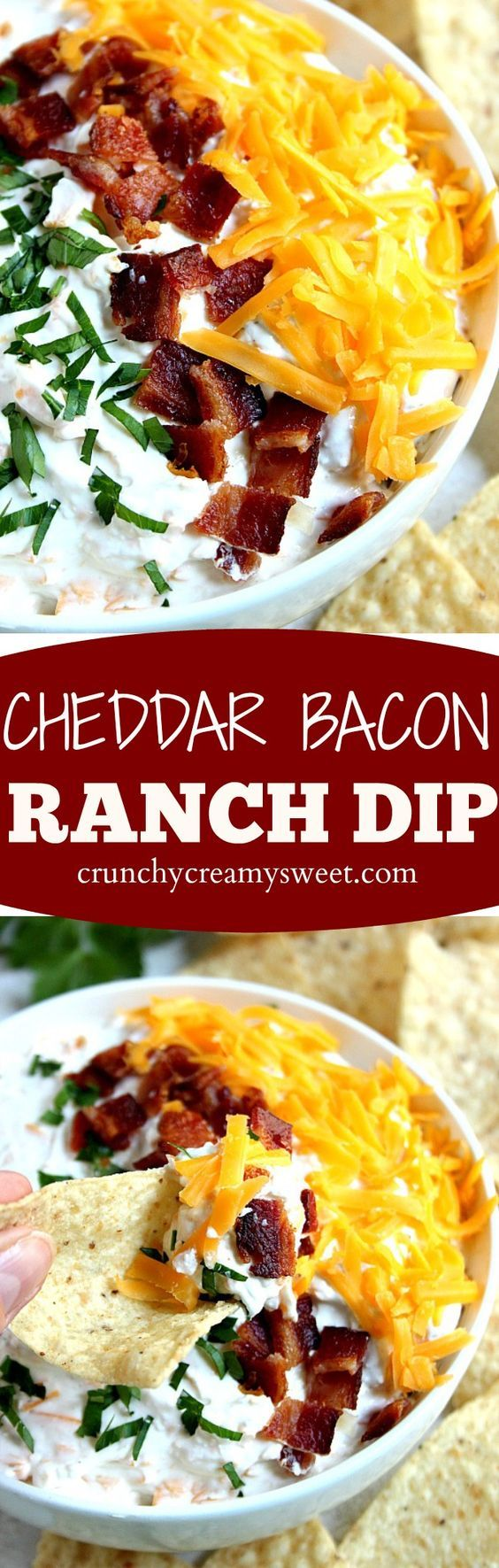 Cheddar Bacon Ranch Dip recipe - you only need 5 ingredients to mix this dip up! It's so good and perfect for a game day or a party!