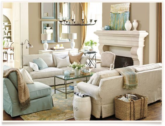 Sally Lee by the Sea | Beautiful Beachy Living Room from Ballard Designs! | http://nauticalcottageblog.com